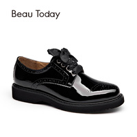Beau Genuine Leather Flats Women Lace Up Fashion Round Toe Ladies Casual Shoes In Gradient Colors