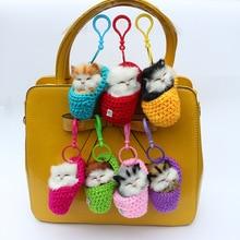 5pcs Mini Sleeping Cats Simulation Shoe Kittens Knitting Plush Toys Key chain Key ring Decoration Toy