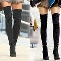 Más el tamaño 34-45 Botines de invierno Femenina botas para las mujeres mayores hasta la rodilla de alta del muslo botas de ante de tacón alto botas de mujer botas femininas
