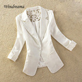 Fashion New Women Elegant Lace Blazer Feminino Lady Three Quarter Sleeve Single Button Slim Casual Blazer Women Suit Jacket