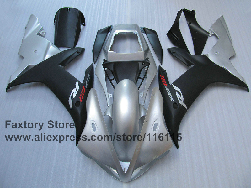 7gifts Motorcycle 100% injection fairings kit for YAMAHA 2002 2003 YZFR1 YZF R1 02 03 YZF-R1 silver black fairing ABS body parts