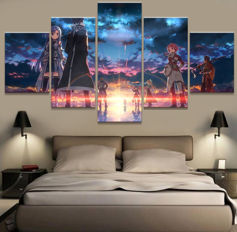 5 Piece Hd Printed Large Sword Art Online Anime Cuadros Landscape Canvas Wall Home Decor