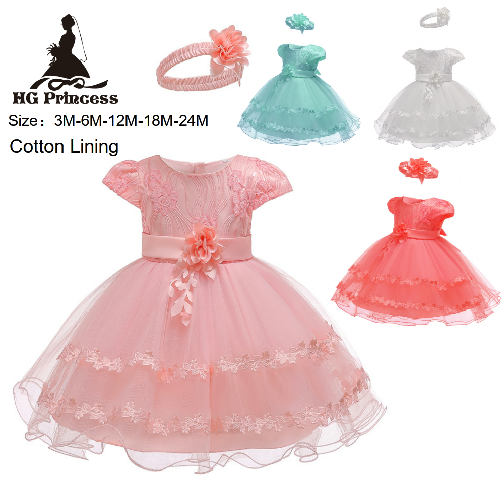 9f9edf7a82ee Hot Sales 3M-18M Newborn Infant Party Dresses 2019 New Arrival Pink ...