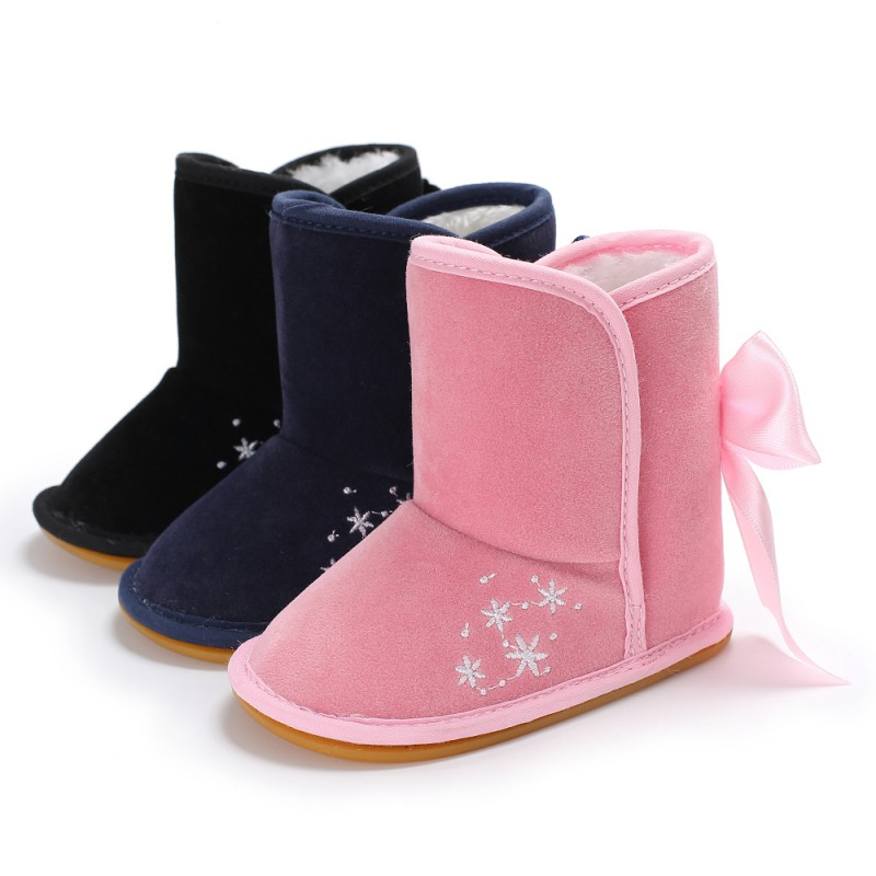 Winter Baby Shoes Rubber Bottom Cotton Long Bow Baby Boots Warm Fashion Baby Shoes Girls Snow Boots