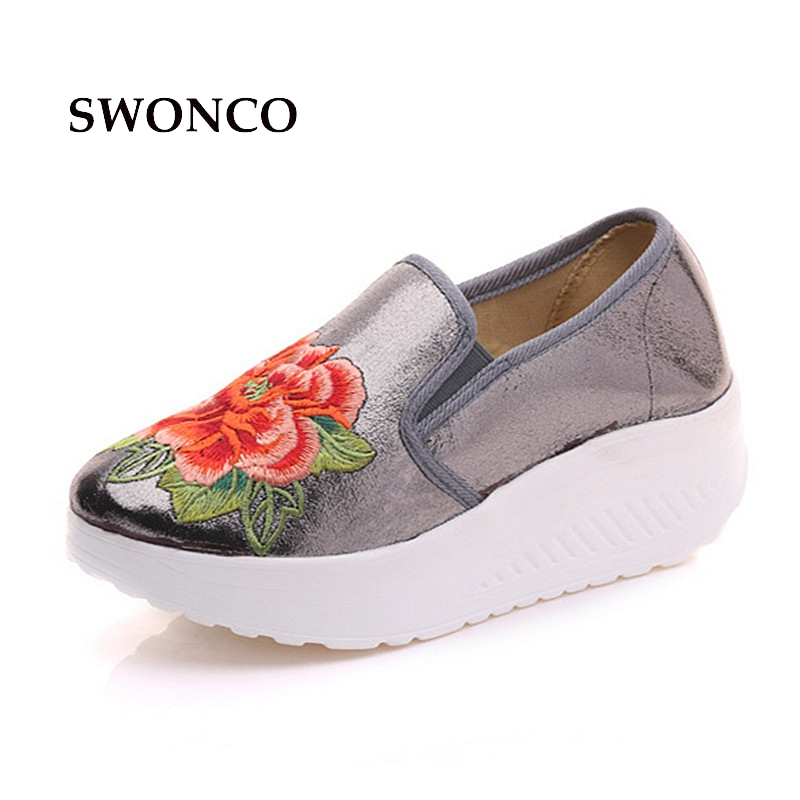 SWONCO Women's Vulcanize Shoes Sneakers Floral Embroidery Slip On Shoe Woman Sneakers Shoes Breathable Leather Casual Shoe swyivy women sneakers light weight 2018 41 woman casual shoes slip on lazy shoes comfortable candy color breathable net shoe