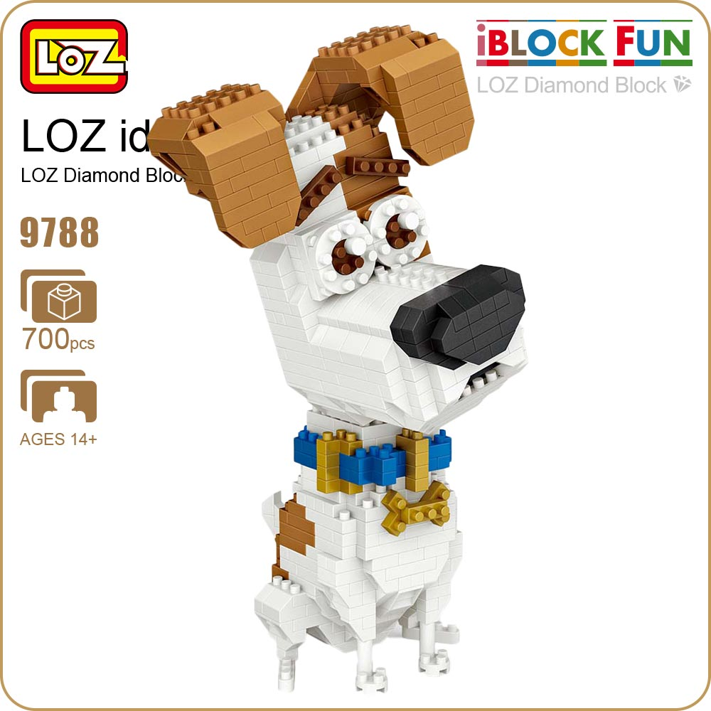 LOZ Diamond Blocks Jack Russell Terrier Dog Cartoon Anime DIY Building Blocks Cute Mini Animal Figure Plastic Toy for Child 9788 1500 2200 pcs big size plastic cute cartoon designs of mini nano blocks diamond mini block toys for children diy game