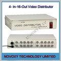 Envío Libre 4 En 16 Distribuidor de Vídeo Compuesto BNC amplificador de $ NUMBER CANALES A Splitter Para CÁMARAS de Seguridad CCTV 16CH DVR sistema