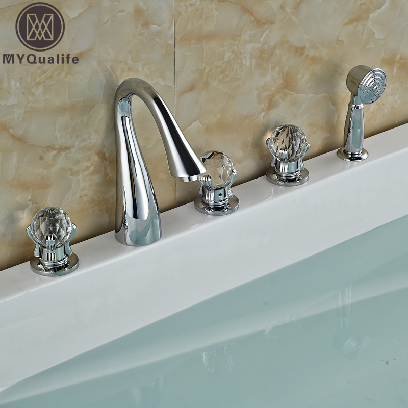Luxury 5pc Chrome Finished Bathroom Tub Sink Faucet Roman Tub Mixer Taps with Pull Out Handshower