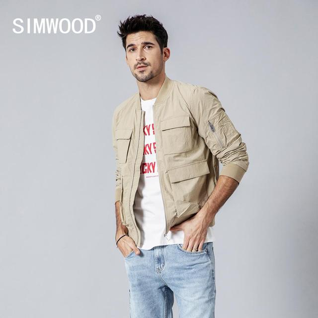 SIMWOOD New spring Jacket Men Windbreaker Fashion Casual Coats Slim fit Brand Clothing Plus Size Outerwear 180062