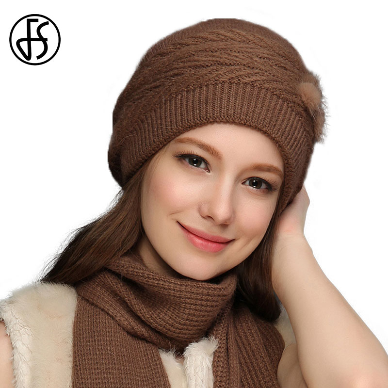 FS Winter Wool Knit Hat Beanie Scarf Set For Women Knitted Skullies Beanies Brown Gray Fur Pom Pom Hats Bonnet Foulard Femme