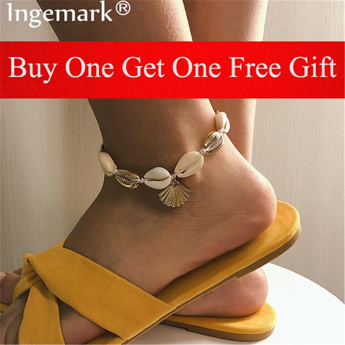 Ingemark Bohemian Shell Foot Jewelry Summer Beach Barefoot Bracelet Anklet Leg Female Sweet Natural Seashell Ankle Strap Boho