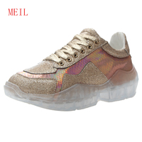 Silver Gold New Leather 2019 Diamond Sneaker Clear Platforms Bling Bling Women Sneakers Lace Up Thick Bottom Casual Shoes Woman