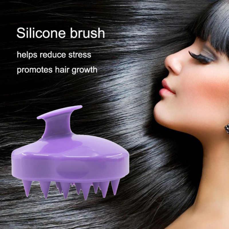 Lược Cầm Tay 5 Màu Ốp Da Đầu Dầu Gội Bàn Chải Mát Xa Rửa Lược Tắm Tóc Mini Đầu Kinh Tuyến Massage Rộng Răng