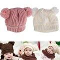 Muchachos de las muchachas infantiles de tejer sombrero de lana de punto de ganchillo del bebé del oído protección cap niños sombreros de invierno # ld789