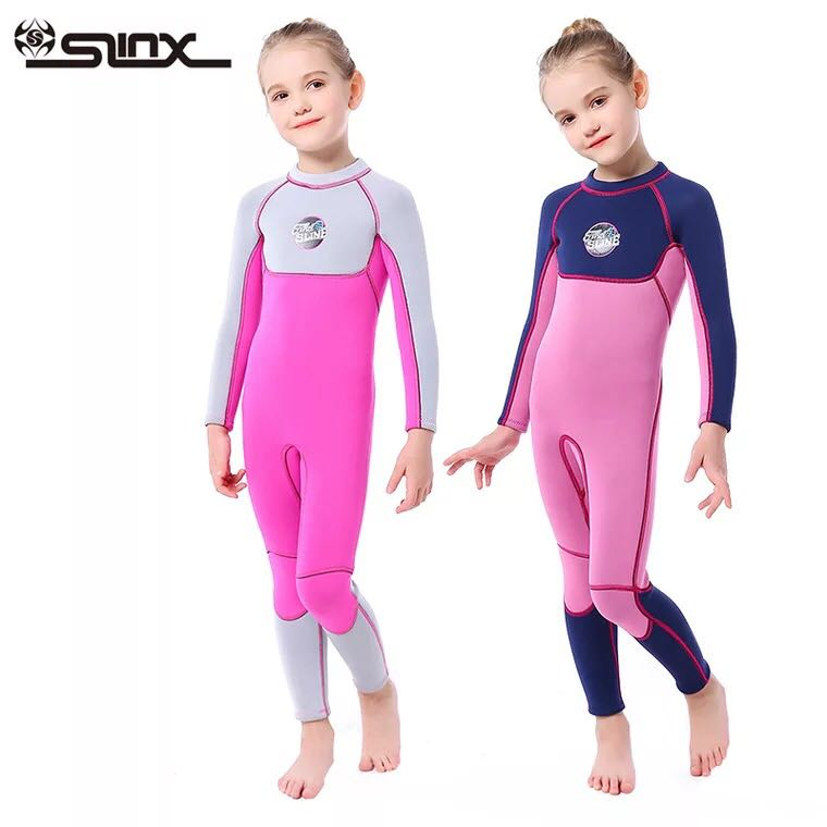 SLINX Neoprene Long Sleeves Kids Wetsuits Diving Swimming Suits for Girls Children Rash Guards One PiecesSLINX Neoprene Long Sleeves Kids Wetsuits Diving Swimming Suits for Girls Children Rash Guards One Pieces