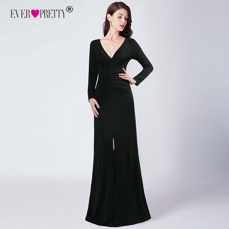 772e050d7b947 US $24.99 45% OFF|Long Sleeve Black Prom Dresses 2018 Elegant Winter Autumn  V neck Leg Slit Special Occasion Dresses Sexy Plus Size Prom Dresses-in ...