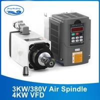 3KW 220v /380v Square Air Cooled Spindle Kit ER20 3KW Spindle Motor+4KW/380V Frequency VFD Inverter for CNC Router Motor