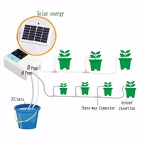 1/2 Water Pump Timer Intelligent Garden Automatic Irrigation System Watering Device Solar Energy Charging Potted Plant Drip