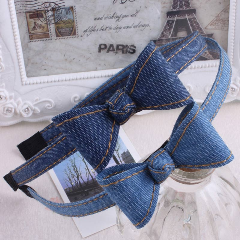 Sale cute Denim bows baby girls hairbands kids headbands children Adult hair hoop boutique tiara   headwear   hair accessories