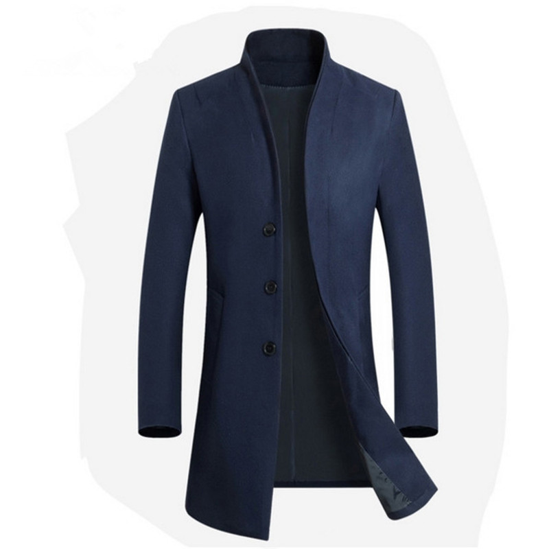 Jackets Coats Wool-Blend Male Single-Breasted Casual Mens Full-Winter Long for 2xl3xl/Brand/Mens