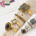@Women exaggerated retro fashion kit free combination precious stone stars gold ring 4sets Party trendy Metal sets Silver rings