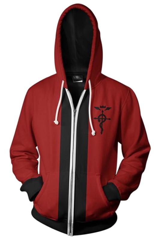 Fullmetal Alchemist Hoodie Edward Elric Hoodie 3D Printed Zipper Up Hooded Adult Men Casual Sweatshirt Cool Hoody Hoodie