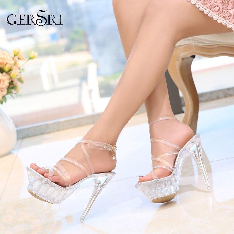Open-Minded Gersri 2020 Plus Size 35-43 Women Sandals Summer Clear Women Sandals Transparent Crystal High Heels Platform Sandals Stripper Buy Now