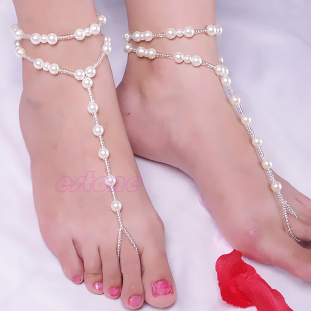 Fashion Elegant Women Pearl Chain Foot Harness Toe Ring