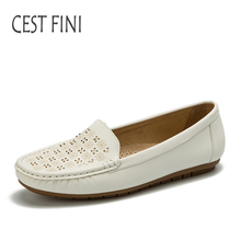 CESTFINI Blanc Chaussures femmes en cuir chaussures plates glissent sur pour femmes oxford Mode impression Casual Chaussures # F014