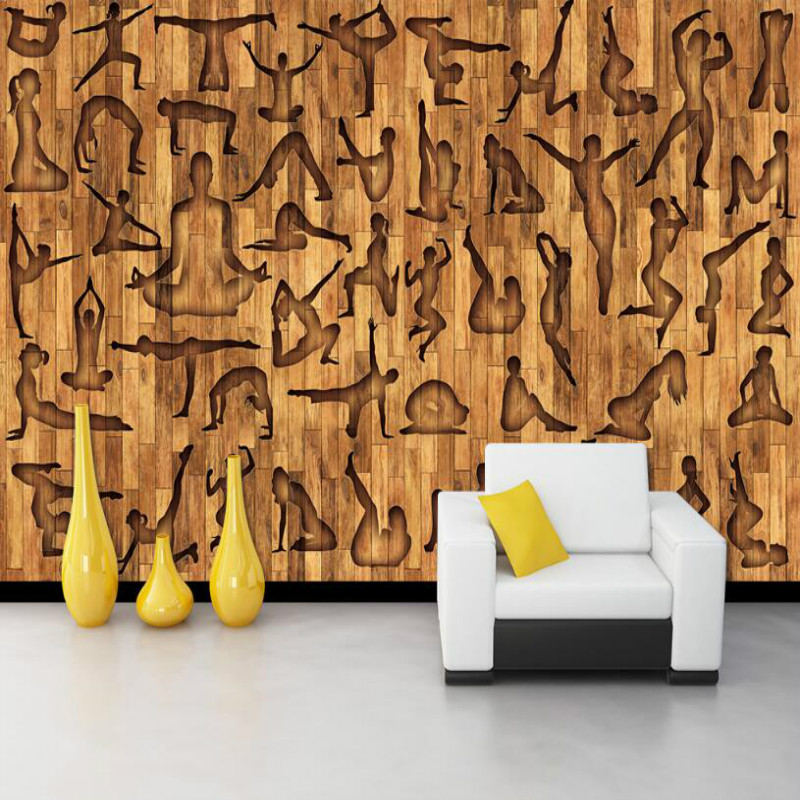 Fitness Sports Yoga Clubs Wooden Board 3d Wall Paper Home