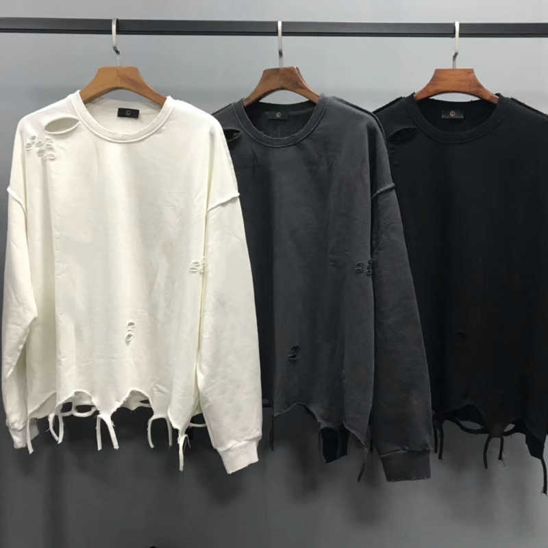 2019 Oversize Inside Out Distressing Sweatshirt Kanye West Ripped Raglan Pullover Hip Hop Streetwear