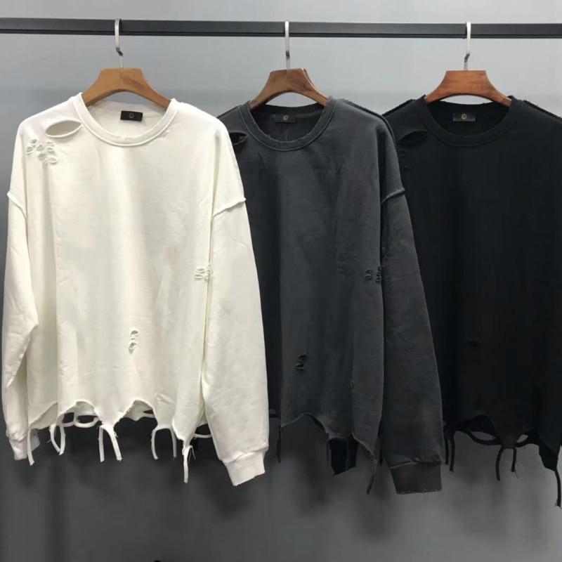 2019 Oversize Inside Out Distressing Sweatshirt Kanye West Ripped Raglan Pullover Hip Hop Streetwear