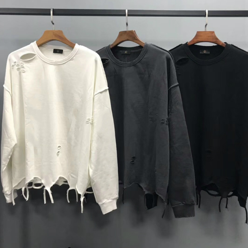 2020 Oversize Inside Out Distressing Sweatshirt Kanye West Ripped Raglan Pullover Hip Hop Streetwear