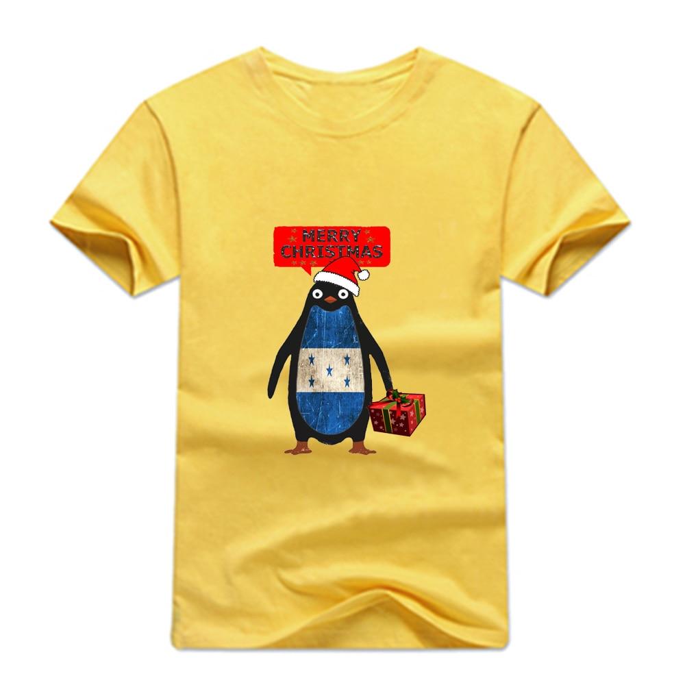 Gresanhevic Mens Honduras Penguin say Merry Christmas T-shirts Short Sleeve Man Clothing