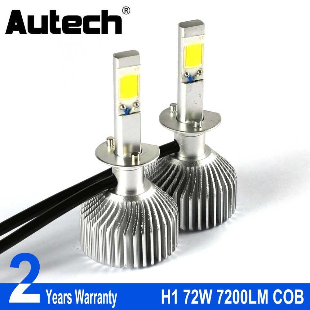 Autech H1 LED Headlight Bulb Car Headlamp Auto Head Bulbs 72W 7200LM COB Chips 12V Fog Lights Conversion Kit All in one