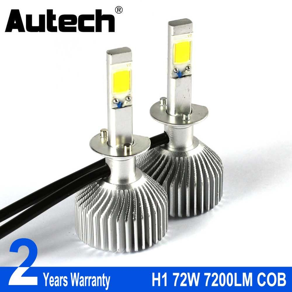 Autech H1 LED Headlight Bulb Car Headlamp Auto Head Bulbs 72W 7200LM COB Chips 12V Fog Lights Conversion Kit All in one