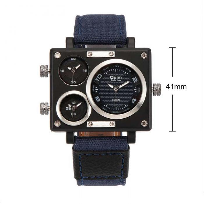 Topdudes.com - Original Oulm 3 Time Zone Unique Design Square Fashion Watches