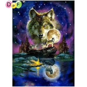 DPF kit de mosaïque diamant broderie | Peinture au diamant, point de croix, couture de loup étoile-ciel 5D, carré cadeau décor broderie diamant
