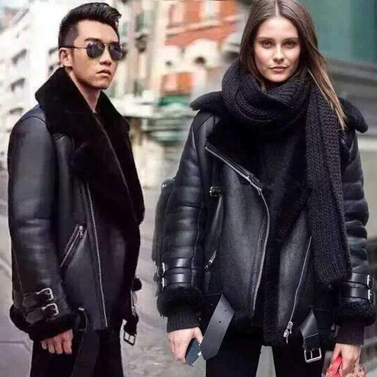 Новинка Зимы 2016 любителей дизайнер из натуральной кожи из овечьей кожи мотоциклетная куртка пара шерсть на флисовой подкладке пальто черны...