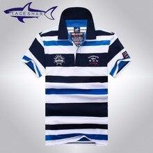 2016 new fashion high quality men's short sleeve cotton striped shark polo shirt, male comfortable cool shark polo shirts 903