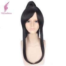 Yiaobess perruque synthétique longue de 60cm noire. Gray man Yu Kanda perruque avec une queue de cheval, frange pour hommes