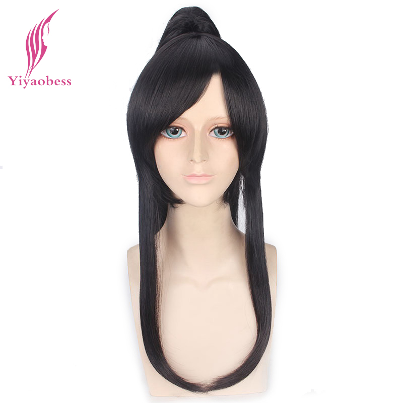 Yiyaobess 60cm Synthetic Long Black D.Gray-man Yu Kanda Cosplay Wig Hair With One Ponytail Male Wigs Bangs image