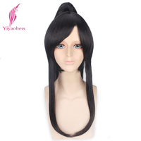 Yiyaobess 60cm Synthetic Long Black D.Gray man Yu Kanda Cosplay Wig Hair With One Ponytail Male Wigs Bangs