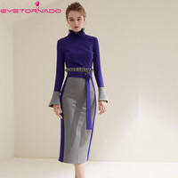 Women Autumn Suit Flare Sleeve Color Block Pullover Top Sexy Bodycon Bandage Pencil Skirt Suits Two