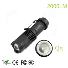 z25 Mini flashlight 2000 lumen flashlight Waterproof led Flashlight 3 Modes zoomable Torch Portable Light cree q5 torch