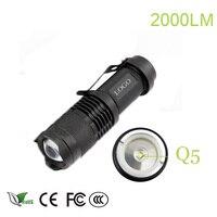 z25 Mini flashlight 2000 lumen flashlight Waterproof led Flashlight 3 Modes zoomable Torch Portable Light cree q5 torch