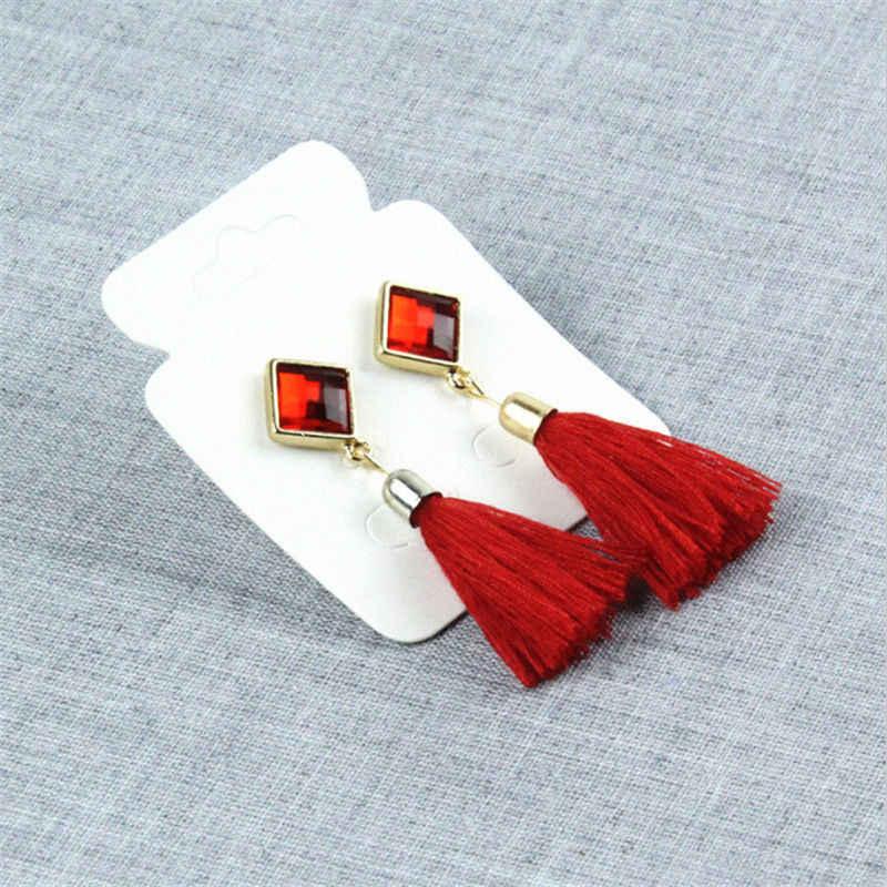 Богемные Винтажные серьги квадратные геометрические хрустальные Висячие серьги для женщин серьги с кисточками ручная работа бахрома в стиле бохо серьги Подарки