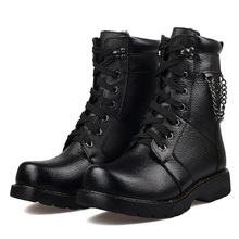 Free shipping 2015 winter style fashion men's keep warm Ankle cowboy boots fashion casual Lace-Up Motorcycle boots for men