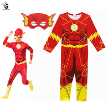 The Flash kostium dla dzieci Halloween kostiumy dla chłopców kombinezony superbohatera Flash Cosplay kostiumy dla dzieci świąteczne zaopatrzenie firm