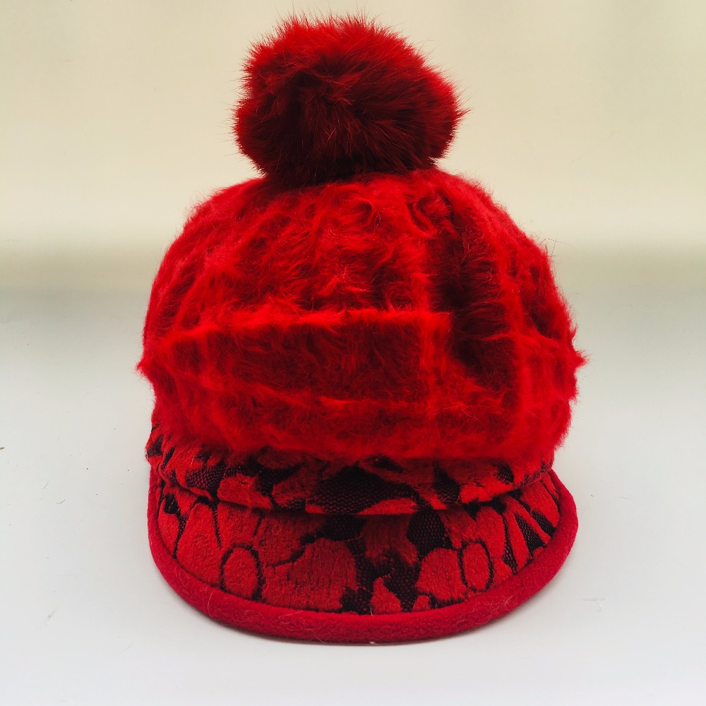 2017 New Fashion Women Winter Hat Sets Floral   Skullies   Wool Mixed Rabbit Fur Warm Outdoor Knitted   Beanies   Baggy Headwear Cap
